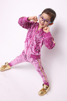 Wholesale High quality velour Children s Activewear zipper coat pants girls tracksuit Year kids sport casual set QS229