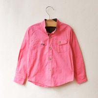Wholesale Children Clothing Cotton Shirts Boy T shirt With Collar Fashion Casual Tops Hot Pink Shirts Child Shirt Kids Clothes Long Sleeve T Shirts