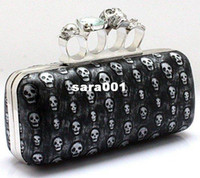 bags knuckles - NEW Ladies Skull Clutch Knuckle Rings Handbag Skull Evening Bag With Chains punk wallet Day clutch AEB191