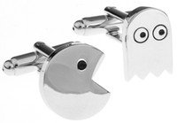 Wholesale 2013 Classic Silver Tone Pac Man Designer Cufflinks Paly Game Novelty Men Shirt Cuff links jewelry cufflinks for mens A0975