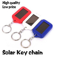 Wholesale Portable Car Keychain With LED Light MINI Energy Rechargeable Solar Flashlight Solar lights outdoor camping lamp key chain ring