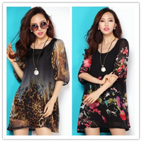 Wholesale 2013 new fashion dress Leopard Printing Flowers Printing round neck silk mini dress plus sizes two colors loose L XXXL Bust cm py31202