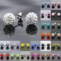 Wholesale New Shamballa Jewelry mm Disco Crystal Ball Bead Ball Bead Earring Silver Ladies Jewelry Pairs