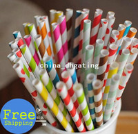 Wholesale 500pcs mixed paper drinking straws polka dot striped birthday part wedding baby shower