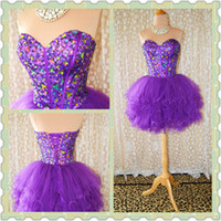 Wholesale Actual Image Purple Sexy Strapless A line Beaded Crystal Under Mini Short Prom Homecoming Dresses Formal Party Cocktail Dress Gown