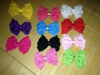 achat en gros de rosette gros mousseline-Bricolage Accessoires pour cheveux pour bébés Boucles d'oreille en mousseline de soie en mousseline de soie Rose Rose Bow Bow Bow 12colors en gros 100PCS / LOT drop shipping