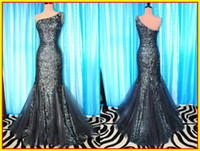 Tulle Sleeveless Floor-Length Actual Image 2014 Modest Black New One shoulder Mermaid Beaded Crystal Sequins Fabric Prom Evening Dresses Formal Party Cocktail Dress Gown