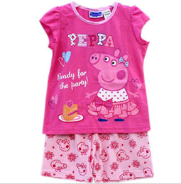 Wholesale Kids Peppa Pig girl girls kids short sleeve t shirt top shorts pyjamas pajamas sleepwear sleepsuit Pjs