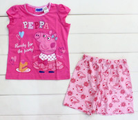 Wholesale Kids Peppa Pig pajamas for children girl girls short sleeve t shirt top shorts pajamas sleepwear pyjamas sleepsuit Pjs pset