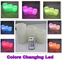 Christmas,Valentine's Day Color Change LED Candles - Remote Control Pillar Wax LED Candle lights With Color Changing Remote Control quot quot