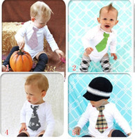 Wholesale 2013 hot sale baby tuxedo rompers baby ties bodysuit newborn one piece romper shirts baby clothes jumpsuit overalls tights D15