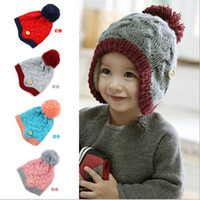 Unisex beanie babies lot - Winter Baby wool caps earflaps woolen toddler boys girls beanies hats children Knitted cap QS242