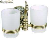 bronze antique toothbrush holder - European Style Luxurious Antique Bronze Double Cup Holder Toothbrush Holder Bathroom Accessories B