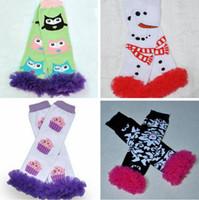 achat en gros de cadeaux de zèbre de noël-Owl Halloween cadeau de Noël Fuschia Zebra Crâne volants en dentelle Jambières filles Infant Toddler vacances Santa Baby Jambières 108Design Chose