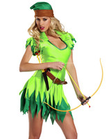 adult robin costume - Sexy Halloween Costumes For Women Adult Peter Pan Costume Robin Hood Outfit Jagged Hem Mini Dress H39211