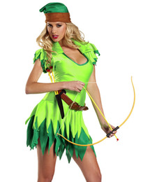 Wholesale Sexy Halloween Costumes For Women Adult Peter Pan Costume Robin Hood Outfit Jagged Hem Mini Dress H39211