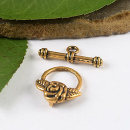 20sets dark gold-tone rose ring toggle clasps H1980