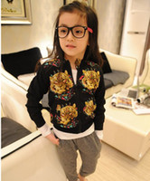 Wholesale Fashion Children Girls Funky Tiger Printed Zipper Long Sleeve Jacket Kids Animal Pattern Outwears Girls Autumn Sparkly Coats B0922