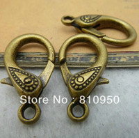 Jewelry Findings Metal Clasps & Hooks DIY jewelry Accessories, Antique Bronze Metal Alloy lobster clasps 17*31mm DIY Jewelry connection,20pcs lot,Free Shipping!