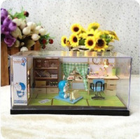 Wholesale DIY handmade doll house cute Doraemon Mini scene model childhood Doremon with dust cover EMS