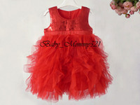 TuTu Summer A-Line 2013 Wholesale 0806004 Baby Girl Dress Tulle Jumper Skirt 4 Layers Tulle Inside Cotton Sequin Dress Baby Girl Pink White Red Fashion Dresses