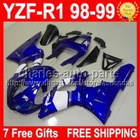 7 free gifts Blue white For YAMAYA YZF- R1 98- 99 98 99 YZF R1...
