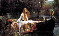 cloth picture antique wall panels - classical design Wall decor art picture maiden on boat Reproduction of antique painting by John William Waterhouse