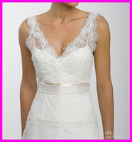 A-Line Reference Images Spaghetti 2015 Simple White Exquisite A Line Sheer Straps V Neckline Lace Chiffon Open-Back Wedding Dresses Bridal Dress