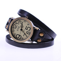 Wholesale promation best quality double band Genuine fashion cow leather women watch longband special numbers wristwatch C1158