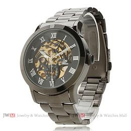 Men's Fashionable Style Alloy Analog Mechanical Wrist Watch Hollow Engraving Fashion Watch (Black) #WM32011