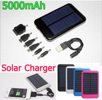 No battery power connector - 5000mAh USB Solar Charger Solar Panel External Battery Portable power bank for Cell phone tablet PC connectors