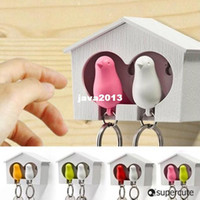 Wholesale New supper cute couple sparrow key ring with whistle have big bird s nest hang on the wall birds per set