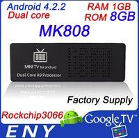 Wholesale MK808 Android Dongle RK3066 Dual Core Cortex A9 Google Android ICS Mini PC Wi Fi TV