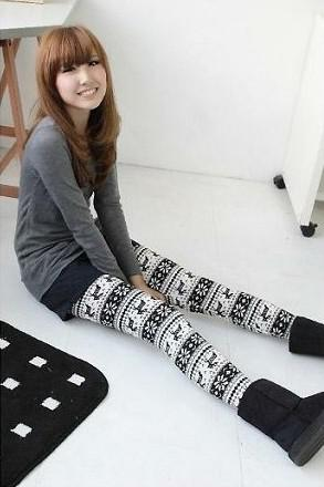 2014Fashion Womens Christmas Snowflake Reindeer Tricoté Leggings chauds Collants