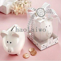 Wholesale quot Li l Saver Favor quot Ceramic Mini Piggy Bank in Gift Box with Polka Dot Bow Wedding Favors