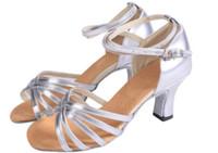 Wholesale 2New Arrival Latin Dance Shoes Women s Ballroom Shoes cm Heels Satin U S Size