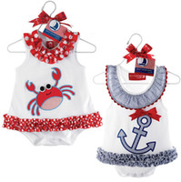 Girl baby sailor dresses - navy sailor baby rompers baby clothes new born one pieces romper baby girls jumper dress bodysuits top overall jumpsuit vest D27