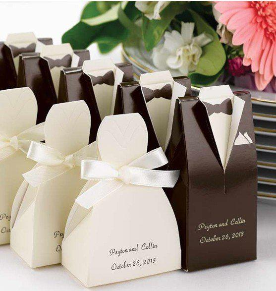 Wedding Gift Box Wholesale Malaysia : ... lot, Wedding decoration Brown Tuxedo or Ivory Gown Favor Box Candy Box
