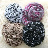 Lace beautiful silk scarves - Women Popular silk scarf beautiful five pointed star scarf paris yarn muffler scarf