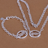 Wholesale Retail lowest price Christmas gift silver Necklace Bracelet set TS057