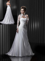 Wholesale Custom Made Strapless A Line Organza Ruffle Floor Length Corset Bridal Wedding Dress With High Neckline Jacket Seller