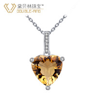 Cheap Double-Ring Dai Beilin Jewelry Sterling Silver Citrine Pendant love