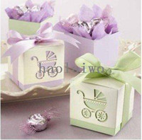 Wholesale Factory directly sale Wedding favor box Candy Box Laser Cut Baby Carriage Favor Boxes also incluidng baby shower