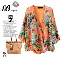 Wholesale New Arrival Women Quarter Sleeve Blouses Front Cross V neck Loose Summer Tops Fashion Leisure Wear Flower Print European Style