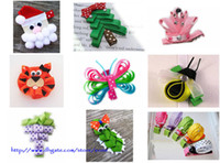 Wholesale Kids Ribbon Sculpture clips Baby grosgrain ribbon bow hair clip Children Christmas tree