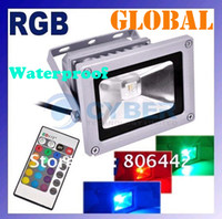 Wholesale outdoor RGB LED Flood Light Real high power W W W W W Bulb Waterproof IP66 Lamp With key Remote Control AC V V