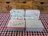 Wholesale hight quality rectangle olour printing iron case storage case tin box gift box color set