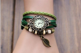 Fashion Wrap PU Leather Women Retro Charms Watch Bracelets Wrist Quartz Lady Watch 300pcs DHL Free Shipping