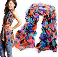 Blue Printed Chiffon The new during the spring and autumn 2013 scarf wholesale dazzle colour love horse wagon is velvet high-grade chiffon scarf shawls
