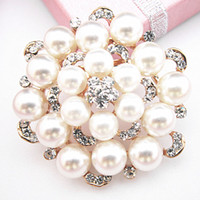 Wholesale 100 Good Quality Gold Plated Crystal Flower Pin Brooches Hot Sale Wedding Bouquet Party Brooch BQ0001